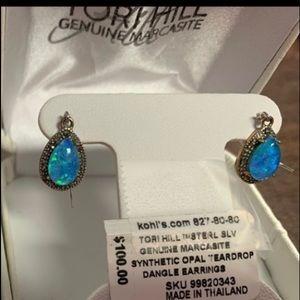 Tory Hill earrings /SS w/marcasite & opal NWT